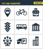 Icons set premium quality of various city elements, street transportation sign. Modern pictogram collection flat design Royalty Free Stock Photography