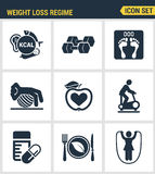 Icons set premium quality of weight loss regime fitness gymnastics gum icon  . Modern pictogram collection flat design Stock Images