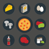 Icons set of process cooking pizza. A set of vector icons of ingredients for pizza vector illustration