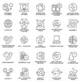 Icons set of production management. Thin lines. Stock Photo