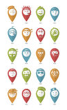 Icons set profession smilies differents colors and emotions Stock Photo