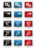 Icons set on the rectangular buttons Stock Photo