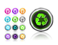 Icons Set with recycle sign silhouette Stock Photos