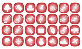 The Icons Set on A Red Background Stock Photo