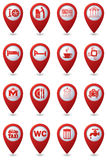 Icons set on red map pointers Royalty Free Stock Photography
