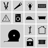 Icons set refit/ Icons gray, square, / Vector icon tape, tape-line, Stock Images