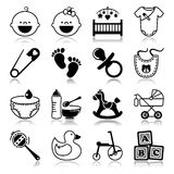 Icons set with reflection: Babies Stock Photography
