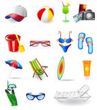 Icons set for rest on a sun sea and beach Stock Images