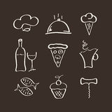Icons set for restaurant. Cafe and bar vector illustration
