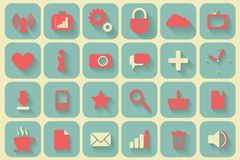 Icons set retro. Set of 24 retro icons Royalty Free Stock Photography
