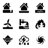 Vector black icons set with risks and dangers from natural disasters, which are taken into account in the insurance of housing. Icons set with risks and dangers Royalty Free Stock Photo