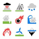 Icons set with risks and dangers from natural disasters Royalty Free Stock Images
