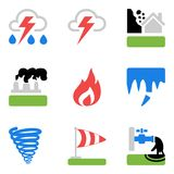 Icons set with risks and dangers from natural disasters. Vector colorful icons set with natural disasters. Four elements of hazards: fire, air, water and earth Stock Photography