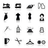 Icons set Sewing and fashion royalty free stock photos