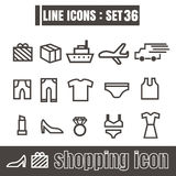 Icons set shopping line black Modern Style design elements  Stock Photos