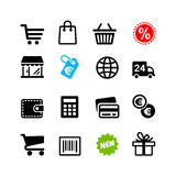 16 icons set. Shopping pictograms. 16 icons set. Shopping, sale, cart pictograms Royalty Free Stock Photography