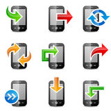 Icons set of smartphones with arrows Stock Photo