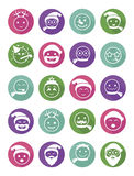 Icons set smiles winter in colored circles Royalty Free Stock Photos