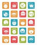 Icons set 20 smiles winter square Royalty Free Stock Image