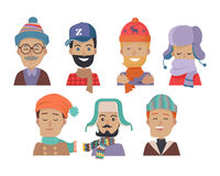 Icons Set of Smiling Men in Hats and Scarves. Set of icons of men in different colored hats and scarves in white background. Men in cold weather. Men with beards Stock Images