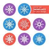 Icons set of snowflakes flat design 3 Royalty Free Stock Photos