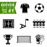 Icons set of soccer elements. Collection of symbols for association football. Qualitative vector (EPS-10) icons about soccer, sport game, championship, gameplay Vector Illustration