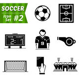 Icons set of soccer elements Royalty Free Stock Photos