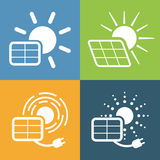 Icons set for solar panel Stock Image