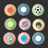 Icons set of sport ball in the circle area with black tone background. Flat graphic. vector. illustration. graphic design. Stock Images