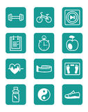 Icons set sports and fitness Royalty Free Stock Photos