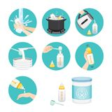 Icons Set Of Steps To Preparing Baby Bottle. Mother's day Suckling Infant Motherhood Innocence Stock Images