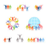Icons set of successful teamwork and cooperation vector illustration