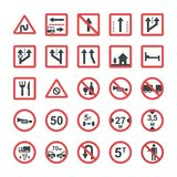 Icons Set Of Symbols In Flat Design. This set consists of flat icons with visual language. All the icons of the packs are picturously expressive and contain a Royalty Free Stock Photos