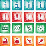 Icons set. Symbols. Media icons. Grunge. Set of square icons in a grunge style buttons. Vector Image Royalty Free Stock Image