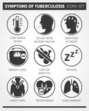 Icons set Symptoms of tuberculosis. TB. Vector infographic. Royalty Free Stock Photography