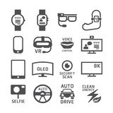 Icons set technology vector black colour design. Royalty Free Stock Image