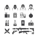 Icons set terrorist vector black colour design. Stock Photography