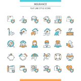 Icons set on theme insurance. Flat line design icons set on theme insurance. Insurance of life, house, money, health, car. Vector illustration Stock Images