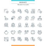 Icons set on theme insurance2. Thin line design icons set on theme insurance. Insurance of life, house, money, health, car. Vector illustration Royalty Free Stock Image