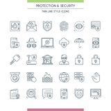 Icons set on theme security2. Thin line design icons set on theme security and protection. Internet security, data protection. Vector illustration Stock Photography
