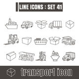 Icons set transport line black Modern Style design elements Geom Stock Photo