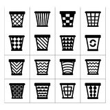 Icons set of trash basket. Garbage can for recycle Stock Photo