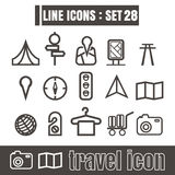 Icons set travel Tourist camping line black Modern Style design Stock Photos