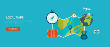Icons set of traveling on airplane, planning a Royalty Free Stock Photography