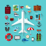 Icons set of traveling on airplane. Travel objects. Flat design modern vector icons set of traveling on airplane, planning a summer vacation, tourism, journey in Royalty Free Stock Photography