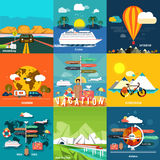 Icons set of traveling and planning a summer Royalty Free Stock Images