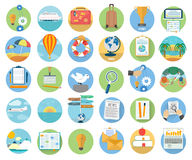 Icons set of traveling and planning a summer Royalty Free Stock Image