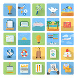 Icons set of traveling and planning a summer Stock Image