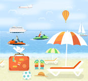 Icons set of traveling and planning a summer Royalty Free Stock Photos