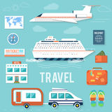 Icons set of traveling and planning a summer Stock Photo